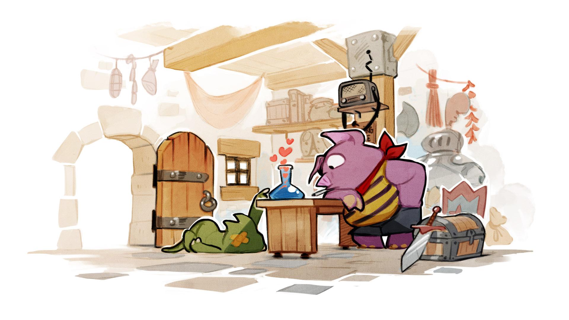 Lizard-man and pig artwork